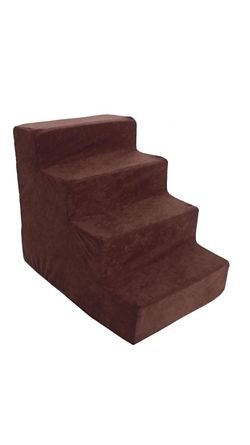 Majestic Pet 4 Step Suede Dog Stairs Chocolate