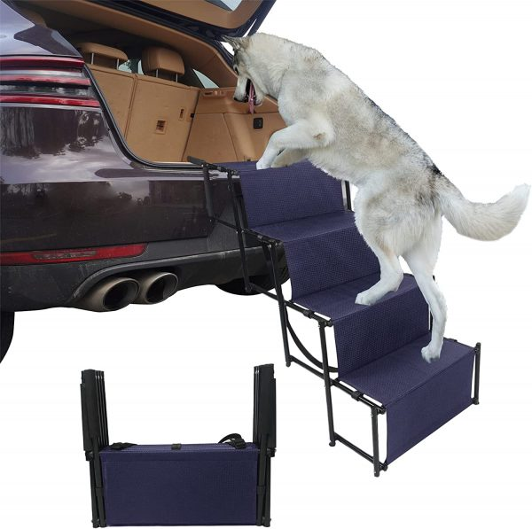 4 Steps Upgraded Folding Pet Stairs Ramp