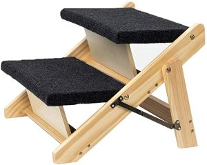 2-in-1 Foldable Dog Stairs & Ramp Wooden 2 Step